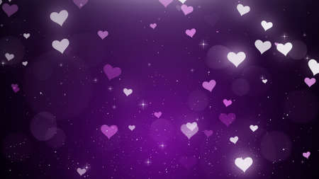 White-pink hearts on a violet background