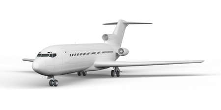 Passenger plane   3D render on a white background