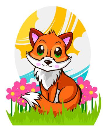 Beautiful cute fox in the grass in cartoon illustration.