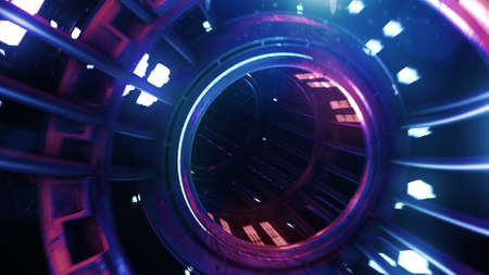 3d render neon digital tunnel abstract