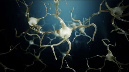 3d render Neuron cells connections world abstract