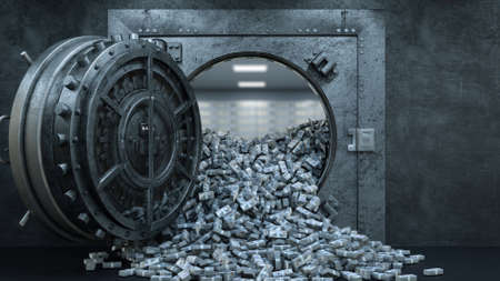 3d render Opening Of The Vault Door In Bank with a lot of money