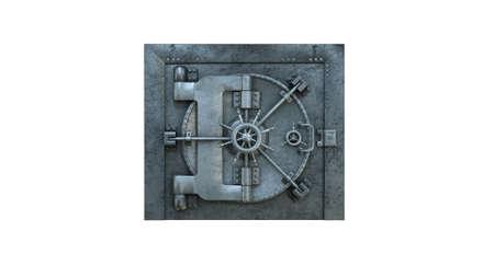 3d render Opening Of The Vault Door In Bank on white background