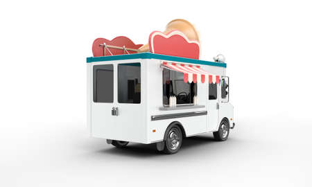 3d render of an ice cream van on a white background