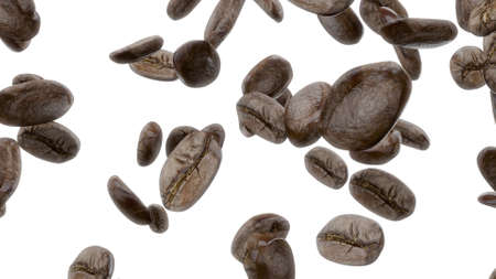 3d render Falling coffee grains on a white background Banco de Imagens