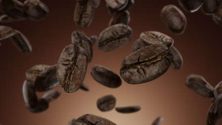 3d render Falling coffee beans on a brown background