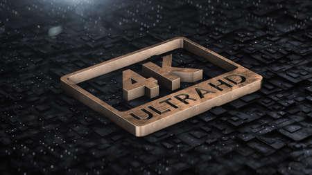 3d render Digital background with 4k ultra hd gold log