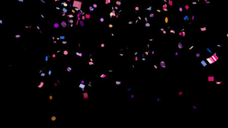Falling multi-colored confetti on an black background