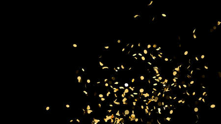 Side shot of gold confetti on an black background