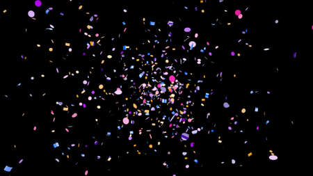 Side shot of colorful confetti on an black background Banco de Imagens