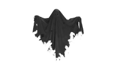 3d render Flying black Ghost on a white background