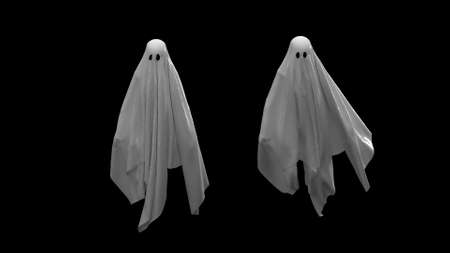 3d render Flying white Ghost on a black background