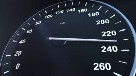 3d render Car Speedometer Macroplane Gaining Speed