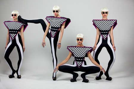 Dancing fashion girls on white background 5k