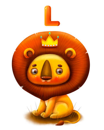 Good cartoon lion with the letter of the alphabet