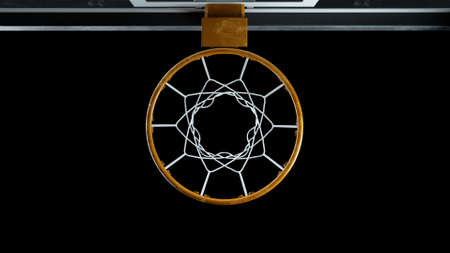 3d render basketball hoop top view on a black background