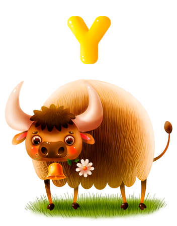 Funny cartoon yak with a flower on a white background