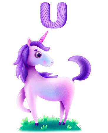 Funny animal alphabet for the kids: U for the Unicorn. Beautiful fairy unicorn stands in the meadow. Banco de Imagens