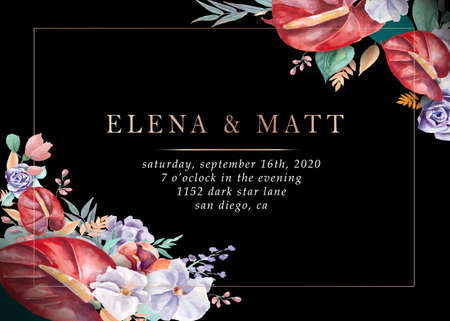 Wedding invitations. Flowers on a black background, design with golden elements.