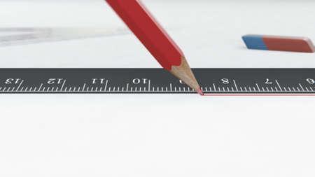 3d render Red pencil draws a line along the ruler Reklamní fotografie