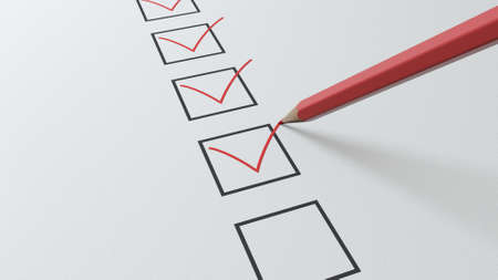 3d render checklist a red pencil will tick in black squares Stockfoto
