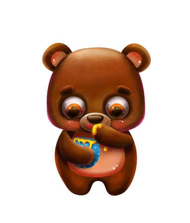 cartoon funny teddy bear with honey Banco de Imagens - 143720454