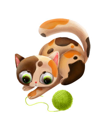 cartoon cute cat playing with a clew 向量圖像