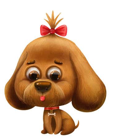 cartoon cute dog with a bow