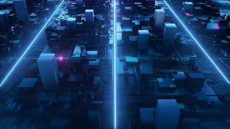 3d render digital boxing neon box background