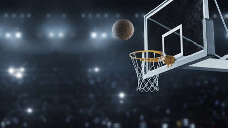 3d render Basketball hit the basket in slow motion on the background of flashes of cameras