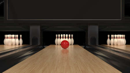 Red bowling ball on a wooden track with pins