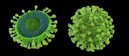 3d render green coronavirus on a black background