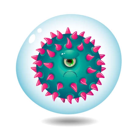 One-eyed evil microbe on a white background Vectores