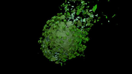 3d render explosion on the fragments of green coronavirus on a black background