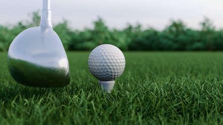 3d render Golf club hits a golf ball Foto de archivo