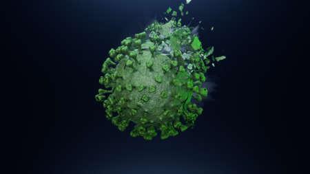 3d render explosion on the fragments of green coronavirus
