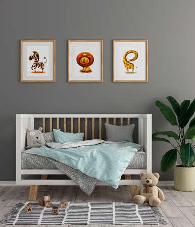 3d render Kids room with photo frames
