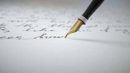 3d render Ink pen writes verse on paper close up