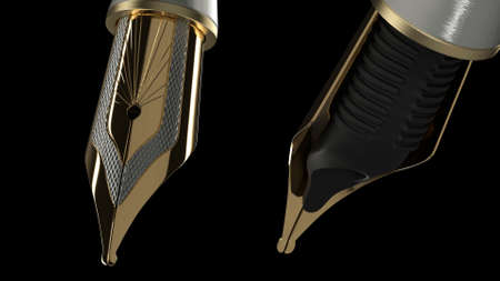 3d render Luxury gold Fountain Pen on a black background