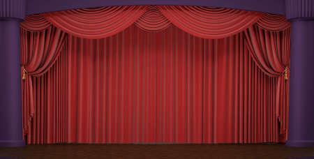 Theater stage with velvet red curtains in a studio