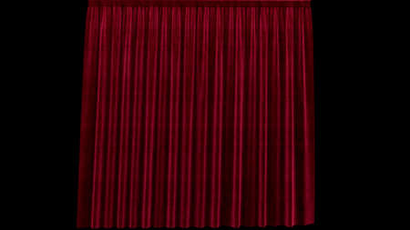 3d render red velvet curtain on a black background