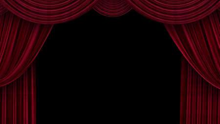 Open theater velvet curtains on black background Foto de archivo