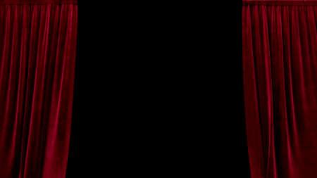 3d render open red velvet curtain on a black background