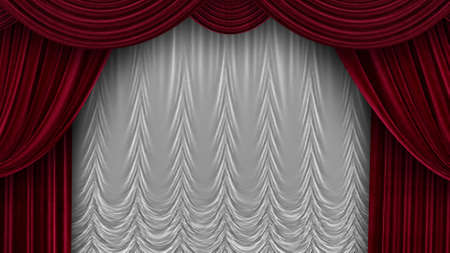 Theater Velvet Curtains with White Curtain in 4k Foto de archivo