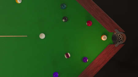 3d render Billiard ball hits the hole view from above Foto de archivo
