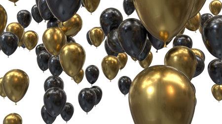 3d render golden and black balloons on a black background Stok Fotoğraf