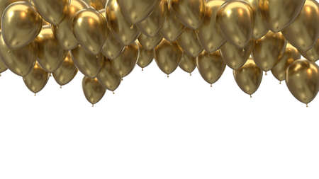 3d render golden balloons hitting the ceiling on a black background