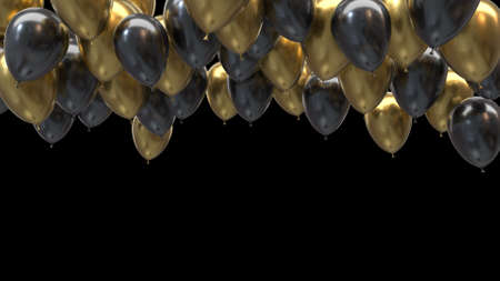3d render golden and black balloons hitting the ceiling on a black background