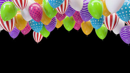 3d render multicolored balloons hitting the ceiling on a black background Stok Fotoğraf