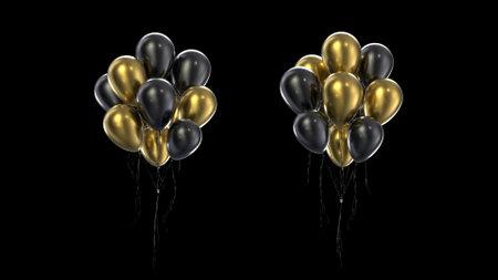 3d render Bundle golden and black balloons on a black background Stok Fotoğraf